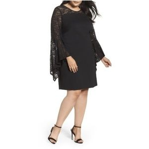 NWT Vince Camuto Black Bell Sleeve Lace Dress